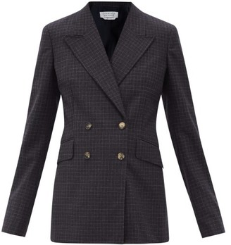 Gabriela Hearst Angela Checked Wool-blend Double-breasted Jacket - Navy White