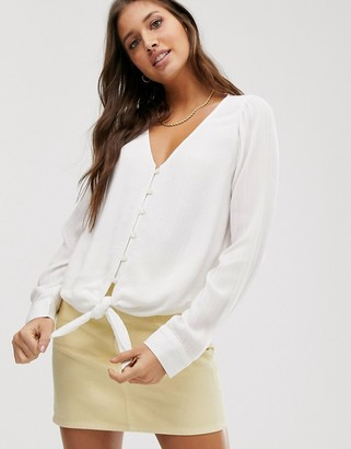 Hollister eyelet button thru shirt-White