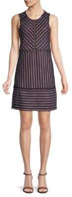 BCBGMAXAZRIA Striped Lace Shift Dress