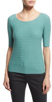 Armani Collezioni Half-Sleeve Scoop-Neck Chevron Top, Copper Green