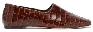 BY FAR Petra High-cut Crocodile-effect Leather Loafers - Womens - Dark Brown