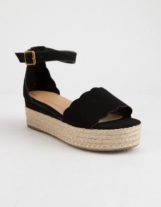 Bamboo Scallop Espadrille Black Womens Platform Sandals