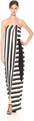 Halston Women's Strapless Striped Tie Waist Detail Gown