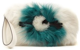 Anya Hindmarch Eyes shearling-trimmed fur pouch