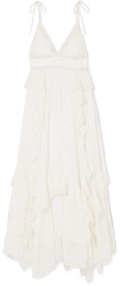 Ulla Johnson Ruffled Lace-trimmed Cotton-crepon Maxi Dress - White