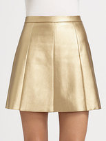 Boundary & Co. Pleated Metallic Faux Leather Skirt