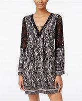 Trixxi Juniors' Printed Crochet-Trim Lace-Up Peasant Dress