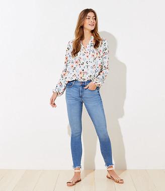 LOFT Chewed Hem Slim Pocket High Waist Skinny Crop Jeans in Light Wash