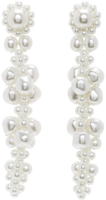 Simone Rocha White Cluster Drip Earrings