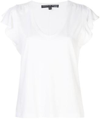 Veronica Beard ruffled-sleeves V-neck T-shirt