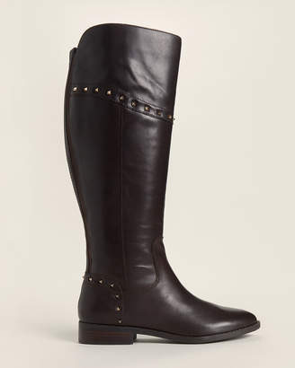 Marc Fisher Dark Brown Secalm Studded Tall Leather Boots