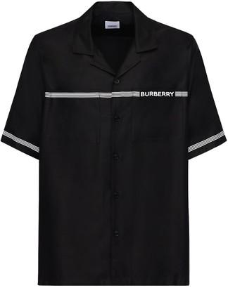 Burberry Logo Print Viscose Bowling Shirt
