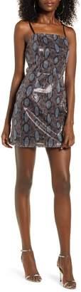 J.o.a. Lace-Up Back Sequin Minidress