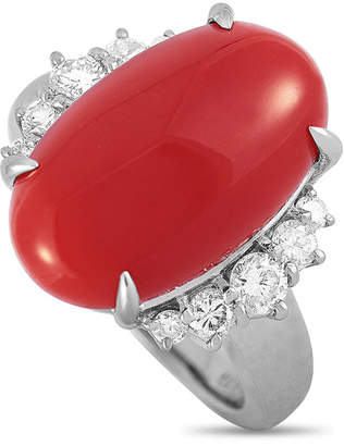 Heritage Platinum 0.53 Ct. Tw. Diamond & Coral Ring