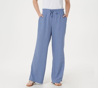 Denim & Co. Linen Blend Pull-On Full-Length Pants