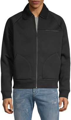 Vince Faux Shearling-Collar Bomber Jacket