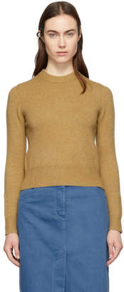 Tibi Brown Stretch Cashmere Crewneck Sweater