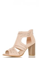 Quiz Beige Faux Suede Cut Out Shoe Boots