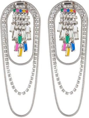 Venna Crystal Chain Triple Strand Earrings