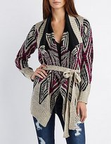 Charlotte Russe Tribal Cascade Belted Cardigan