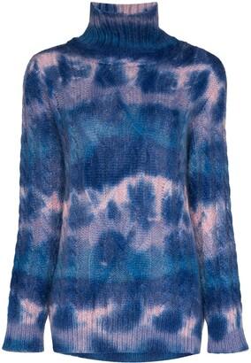Moncler mottled-effect cable knit turtleneck