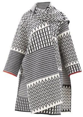 Stella McCartney Zig Zag-jacquard Asymmetric Virgin-wool Cape Coat - Grey White