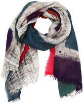 Faliero Sarti Printed Squares Multicolor Cotton Scarf