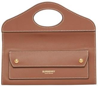 Burberry Mini Topstitched Lambskin Pocket Clutch