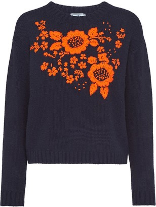 Prada Floral-Embroidered Knitted Jumper