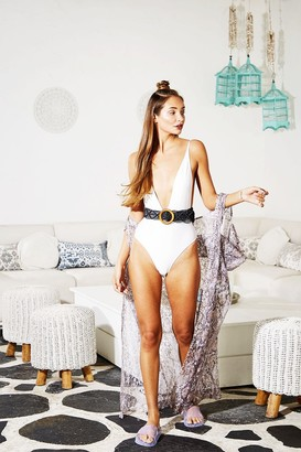 Candypants Outlet White Plunge Swimsuit