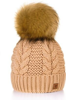 MFAZ Morefaz Ltd Women Ladies Winter Beanie Hat Knitted with Large Pom Pom Cap Ski Snowboard Hats (Beige)