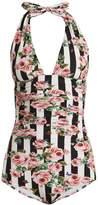Dolce & Gabbana Rose-print ruched halterneck swimsuit