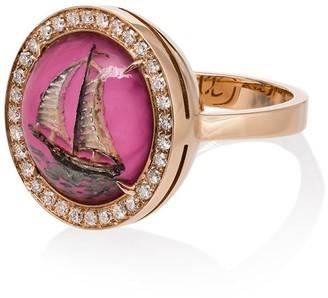 Francesca Villa 18kt gold tsavorite boat ring