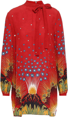 Valentino Pussy-bow Printed Silk Crepe De Chine Mini Dress
