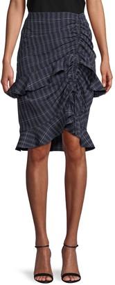 ENGLISH FACTORY Windowpane Peplum Skirt