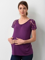 Maternity T-shirt With Lace Sleeves - violet, Maternity | Vertbaudet