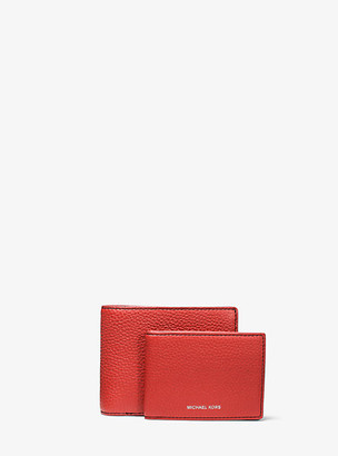 Michael Kors Greyson Pebbled Leather Billfold Wallet With Passcase