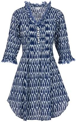 At Last... Cotton Annabel Tunic- Navy Ikat