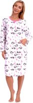 Patricia from Paris Women's Nightgown Lounger Fleece Loungewear (M, Sky Blue Lazy Cat)