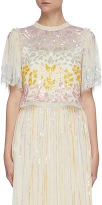 Needle & Thread 'Chakra' rainbow sequin embellished short sleeve tulle top