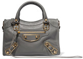 Balenciaga Metallic Edge City Mini Textured-leather Tote - Anthracite