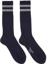 Comme des Garcons Navy Rib Stripes Socks