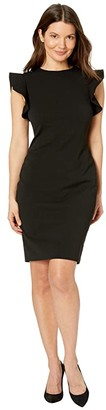 Calvin Klein Ruffle Arm Sheath Dress (Black) Women's Dress