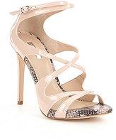 GUESS Ablane Snake Print Detail Ultra High Heel Dress Sandals