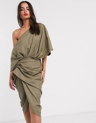 ASOS EDITION drape asymmetric linen midi dress