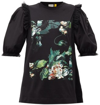 Simone Rocha 4 Moncler Floral-print Cotton T-shirt - Womens - Black