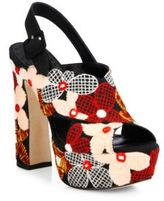 Alice + Olivia Larissa Floral-Embroidered Canvas Platform Slingbacks
