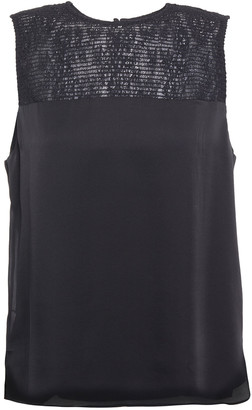 CAMI NYC Collette Shirred Lace And Silk-satin Tank