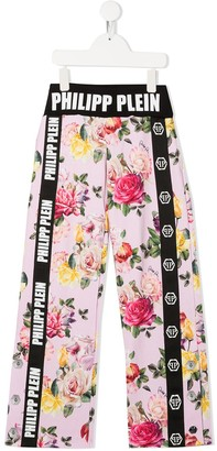 Philipp Plein Junior Floral Print Loose-Fit Trousers