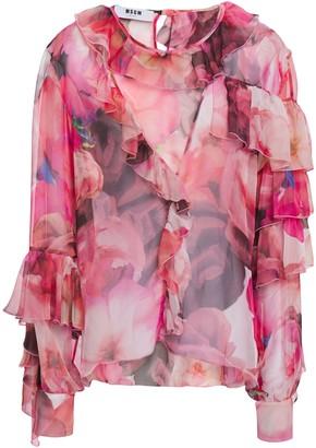 MSGM Cutout Ruffled Floral-print Chiffon Blouse